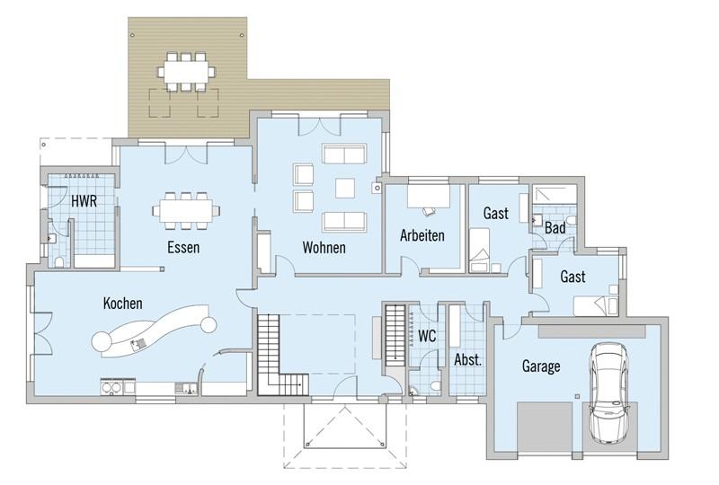 Moderne architektur häuser grundriss  Fertighaus von Baufritz - Haus Hauck