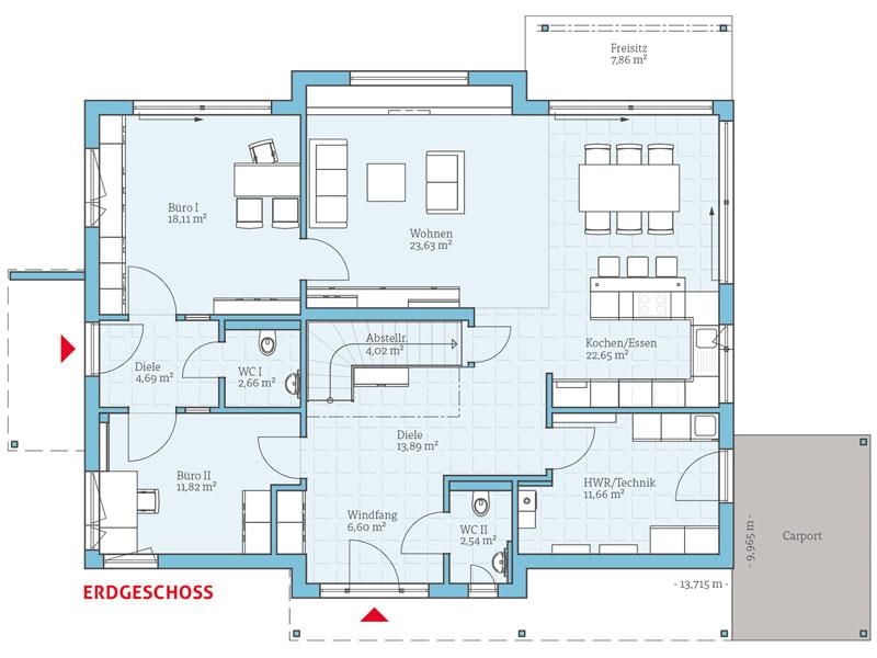 Fertighaus von hanse haus variant 35 235 for Zweifamilienhaus grundriss beispiele