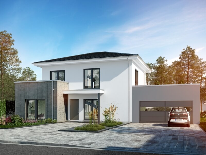 Modernes fertighaus von okal musterhaus schkeuditz for Haus bauen musterhaus