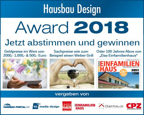 Hausbau Design Award 2018 - Die Gewinner stehen fest.